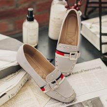 如熙春季新款单鞋乐福鞋平底鞋方头女鞋英伦漆皮小皮鞋鞋子183QDZF2784