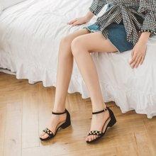 如熙夏季新款涼鞋粗跟低跟女鞋休閑鞋一字扣涼鞋女粗跟鞋子183XLYH3343