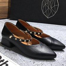 MIJI紅人聯名新款平底尖頭時尚單鞋女鞋女生學生粗跟一腳蹬潮SH3399