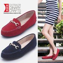 路施南 2018春季新款時尚轉軸式金屬鏈飾平跟鞋社會豆豆鞋女單鞋女鞋子