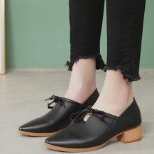 MIJI紅人聯名尖頭單鞋女春季新款女鞋英倫懶人鞋女一腳蹬中跟粗跟鞋SH3372