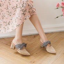 如熙春季新款單鞋女后空粗跟女鞋高跟鞋尖頭裸色女鞋綁帶鞋子183CDBJ3182