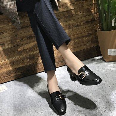 MIJI紅人聯名新款百搭淺口單鞋女粗跟方頭奶奶鞋定黑色高跟鞋女SH3601