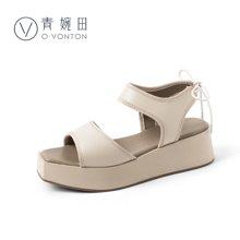 青婉田松糕鞋女厚底凉鞋女夏防水台新款舒适真皮软妹坡跟鞋子Y18XL0836
