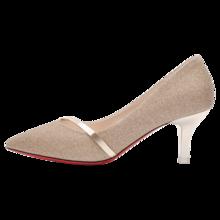 百年纪念   新款金色高跟鞋中跟细跟单鞋新款尖头韩版时尚女鞋bn/1539