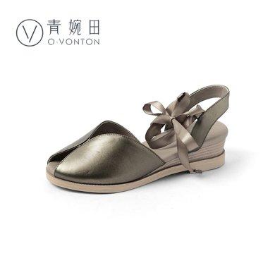 青婉田新款坡跟魚嘴涼鞋女真皮溫柔鞋仙女鞋夏復古中跟綁帶涼鞋軟妹Y18XL0825