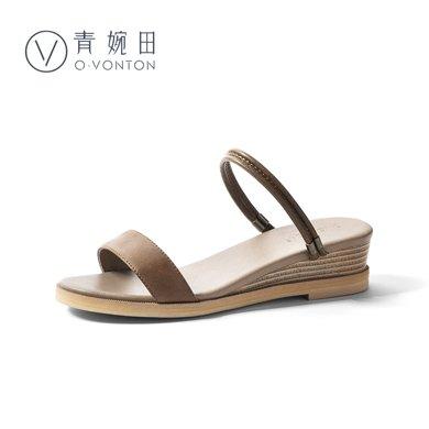 青婉田復古涼鞋女夏文藝日系軟妹兩穿坡跟涼鞋女夏季新款百搭Y18XL0790