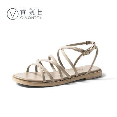 青婉田新款羅馬涼鞋女夏女鞋chic鞋子復古涼鞋平底系帶羅馬鞋Y18XL0783