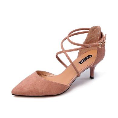 百田森PYQ80096 中空单鞋包头细跟一字扣尖头韩版女鞋子