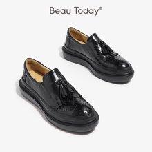 BeauToday單鞋平底休閑英倫女松糕鞋厚底流蘇布洛克女鞋A27082