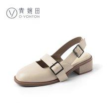 青婉田新款日系一字扣包頭涼鞋女夏中跟粗跟港味復古女鞋真皮Y18XL0824