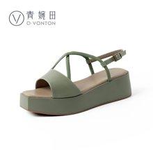 青婉田松糕鞋女一字带厚底凉鞋女百搭舒适坡跟凉鞋女新款真皮Y18XL0861