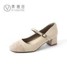 青婉田瑪麗珍鞋女淺口溫柔鞋一字扣單鞋女粗跟仙女的鞋子復古中跟Y18CD0807