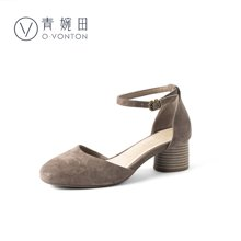 青婉田仙女的鞋一字扣包頭涼鞋女夏優雅中跟粗跟真皮復古軟妹涼鞋Y18XL0812