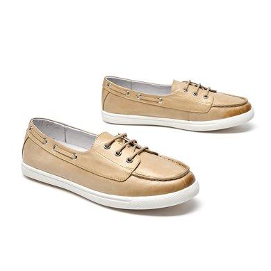 BEAU 新款单鞋女平底乐福鞋圆头系带休闲鞋英伦风复古女鞋21325