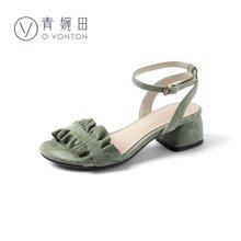 青婉田文藝優雅一字帶涼鞋女夏新款中跟真皮一字扣帶粗跟涼鞋X18XL0845