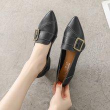 MIJI红人联名奶奶鞋新款中跟懒人鞋红人女粗跟单鞋女浅口尖头复古玛丽珍鞋SH3397