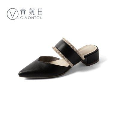 青婉田尖頭穆勒鞋女新款真皮涼拖女夏無后跟懶人鞋女外穿中跟X18XL0852