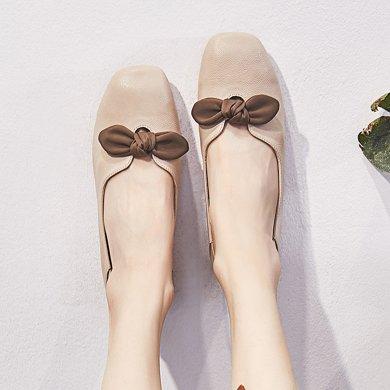 豆豆鞋女新款韩版平底休闲复古奶奶鞋浅口女单鞋LP630-9