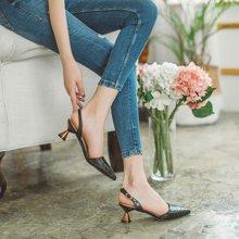 如熙夏季新款一字带凉鞋女粗跟高跟尖头单鞋原宿chic港风复古182CDJH4284