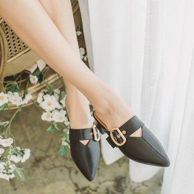 如熙夏季新款穆勒拖鞋女中跟粗跟韓版百搭原宿港風復古chic潮182XLSN4082