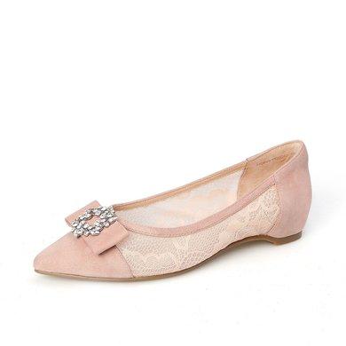 百田森 PYQ80707 時尚蝴蝶結水鉆蕾絲單鞋女淺口尖頭平底鞋女鞋