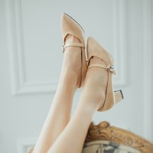 如熙秋季新款高跟尖頭淺口水鉆單鞋女溫柔風粗跟英倫休閑女鞋182QDDX4376