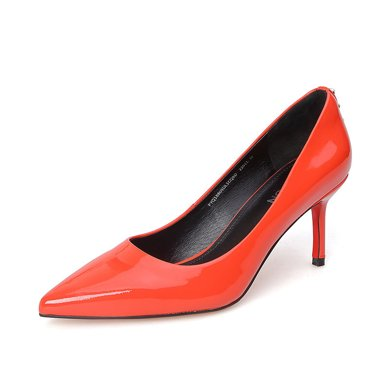 百田森 PYQ18605 精美珍珠尖頭細跟高跟職業女鞋