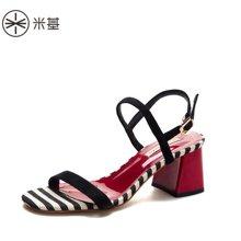 米基2018新款夏红粗跟纹路经典时尚简约一字带凉鞋百搭气质高跟女LX-T125
