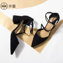 米基仙女鞋夏季尖头凉鞋女中跟性感小清新高跟鞋粗跟2018新款韩版百搭LX-T112