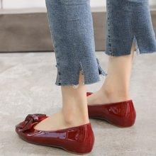 MIJI红人联名浅口单鞋女新款简约复古平底鞋女社会豆豆鞋百搭蝴蝶结奶奶鞋SH5166