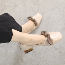 MIJI紅人聯名復古chic單鞋女新款韓版粗跟蝴蝶結奶奶鞋中跟秋季休閑鞋SH5239