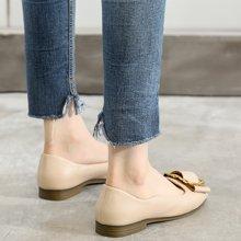 MIJI红人联名女鞋新款韩版方头奶奶鞋平跟懒人平底时装单鞋女SH5157