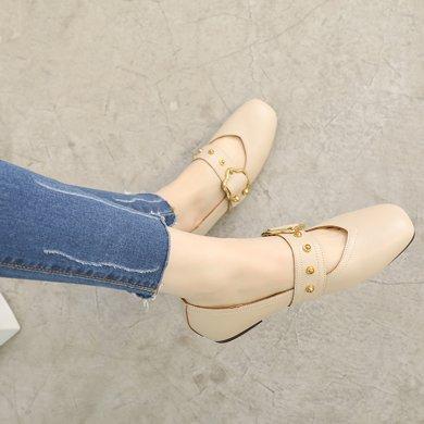 MIJI红人联名豆豆鞋女新款韩版奶奶鞋女方头一字扣浅口社会平底单鞋女SH5151