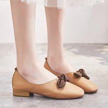 新款奶奶鞋女粗跟复古浅口时尚蝴蝶结低跟方头百搭休闲潮单鞋LP707-1