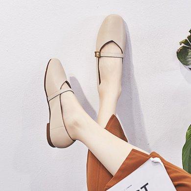 韩版复古奶奶鞋女新款外穿新款包头时尚平底鞋方头懒人豆豆鞋女LP708-2