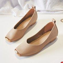 女鞋新款皮鞋方头韩版百搭单鞋女休闲浅口平底鞋子女LP630-3