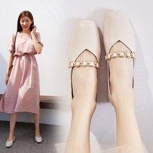 复古玛丽珍一字扣奶奶单鞋女新款浅口方头舒适平底鞋女鞋LP707-2