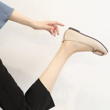 MIJI红人联名方扣单鞋女平底鞋新款豆豆鞋女浅口方头鞋子一脚蹬SH5150