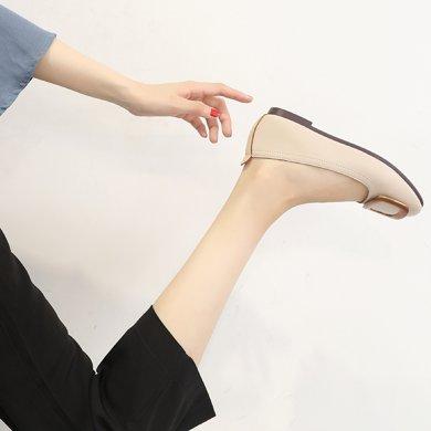 MIJI紅人聯名方扣單鞋女平底鞋新款豆豆鞋女淺口方頭鞋子一腳蹬SH5150