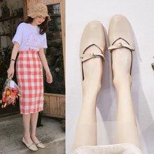 韩版复古奶奶鞋女新款外穿新款包头时尚平底鞋方头懒人豆豆鞋女LP708-1