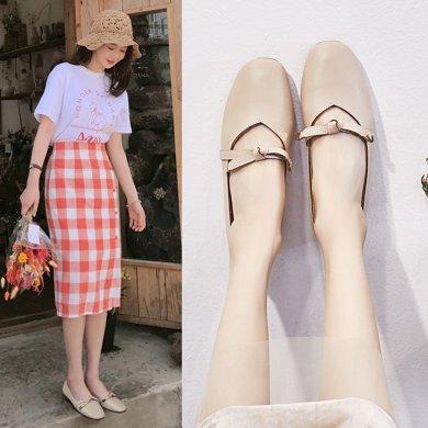 韓版復古奶奶鞋女新款外穿新款包頭時尚平底鞋方頭懶人豆豆鞋女LP708-1