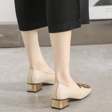 MIJI紅人聯名方扣單鞋女新款粗跟單鞋潮溫柔風淺口方頭鞋女復古奶奶鞋SH988-99