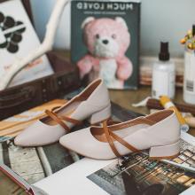 如熙半托单鞋女新款秋季浅口中跟绑带尖头拼色粗跟两穿鞋子女182QDYY4393