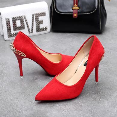 MIJI女鞋子新款潮小清新尖頭高跟鞋韓版百搭細跟淺口磨砂單鞋新娘婚女鞋AI8-12083