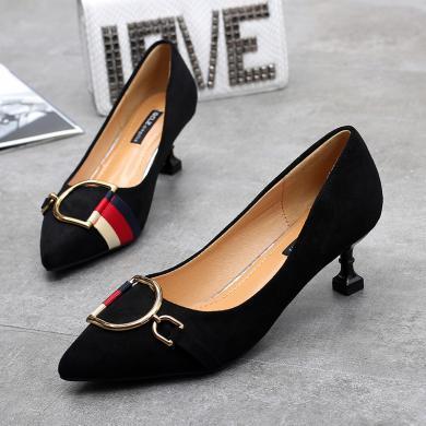 MIJI高跟鞋新款女百搭尖头细跟水钻方扣工作鞋职业浅口单鞋女AI8-12081