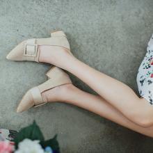 如熙單鞋女新款溫柔鞋百搭仙女尖頭低跟韓版粗跟方扣樂福鞋女182QDBJ4468