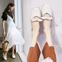新款文艺复古蝴蝶结平底单鞋女方头软底奶奶鞋学生LP707-5