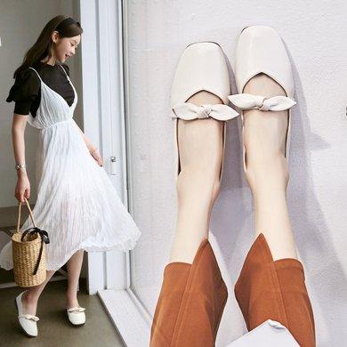 新款文藝復古蝴蝶結平底單鞋女方頭軟底奶奶鞋學生LP707-5