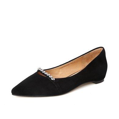百田森 PYQ80706 時尚水鉆單鞋女淺口尖頭平底鞋羊皮女單鞋